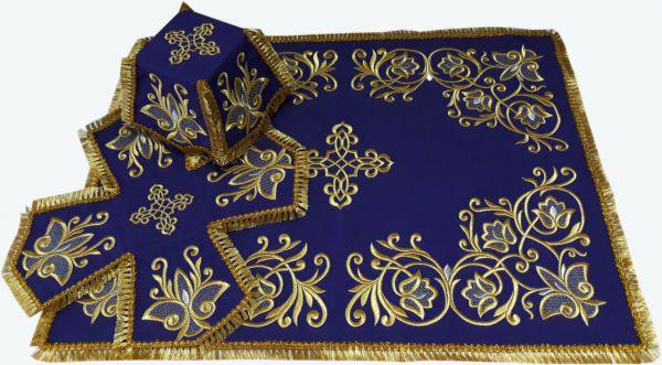 Литургический комплект вышитый габардин, фиолетовый №01