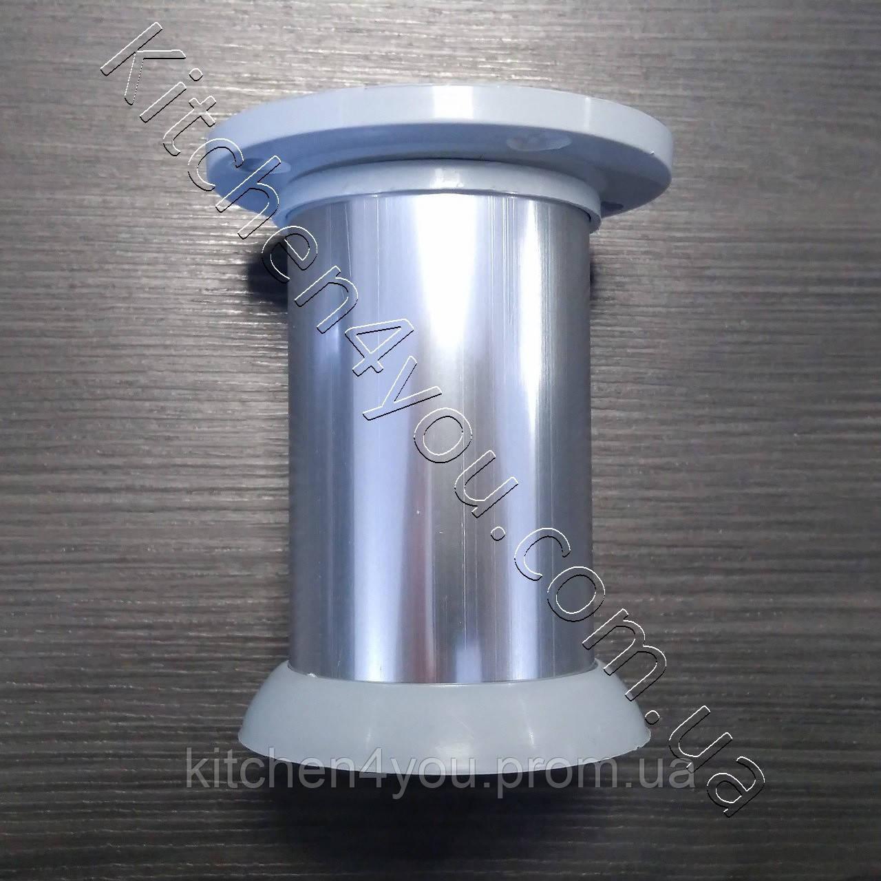 Ножка мебельная круглая IS 42GL-80 мм. алюминий глнцевый