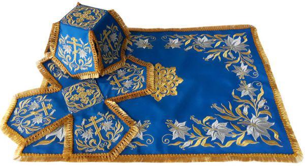 Литургический комплект вышитый габардин, синий №02