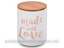 Банка для хранения с бамбуковой крышкой 1л керамическая 14,5 см Made with love, Lefard