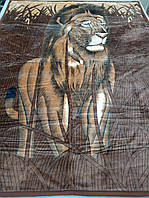 Плед акриловый двуспальный TRUE LOVE лев в камышах