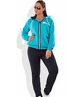 Спортивный костюм осень-зима из трехнитки голубой размеры от XL 2141