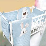 Комплект в детскую кроватку постельное белье + защита для мальчика