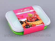 Контейнер для еды складной силиконовый с приборами 15х13х7 см.