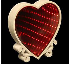 Светильник настольный Бесконечное зеркало Infinity Mirror Сердце(красное свечение)