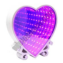 Светильник настольный Бесконечное зеркало Infinity Mirror Сердце(сиреневое свечение)