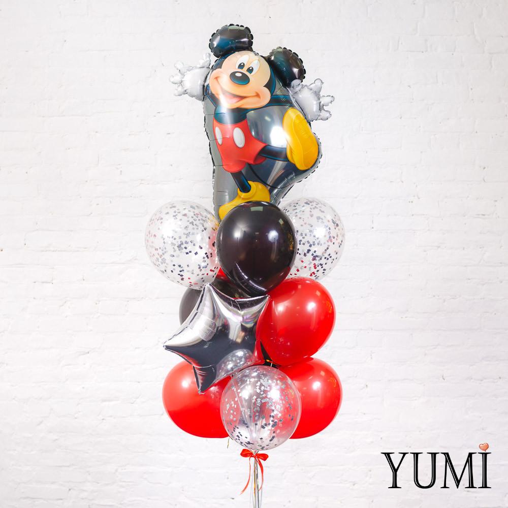 Связка из фигуры Танцующий Микки, серебряной звезды, 4 черных, 4 красных и 3 прозрачных шаров с серебряным