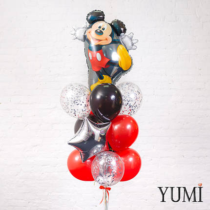 Связка из фигуры Танцующий Микки, серебряной звезды, 4 черных, 4 красных и 3 прозрачных шаров с серебряным, фото 2