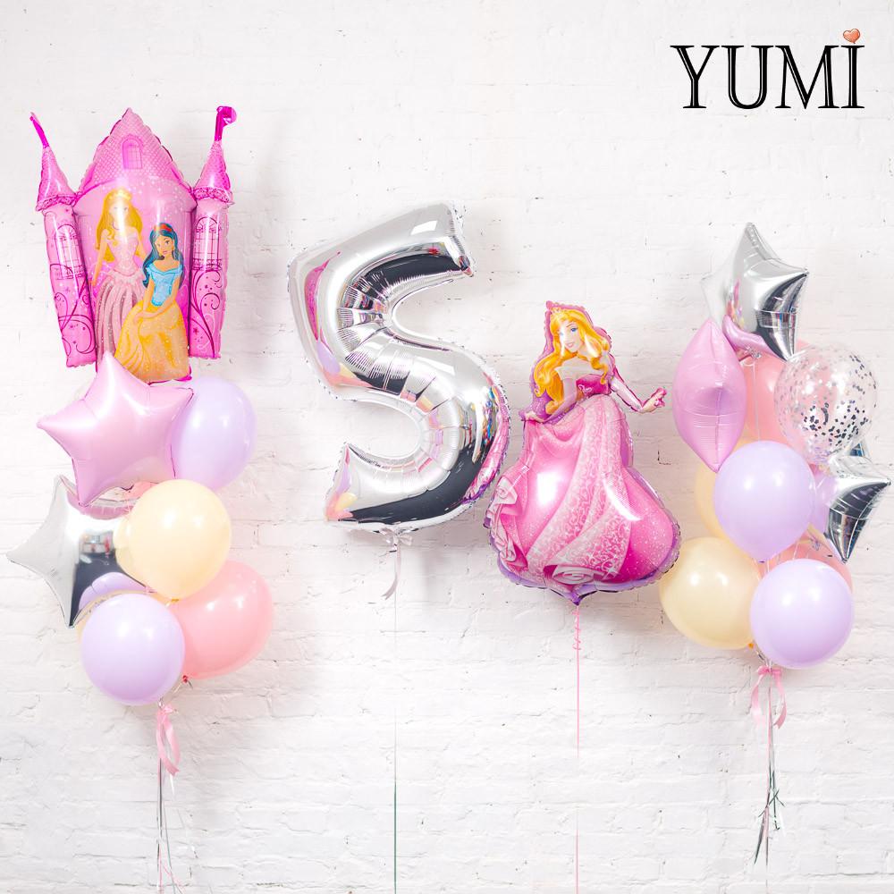 Оформление из воздушных шаров в стиле принцесс