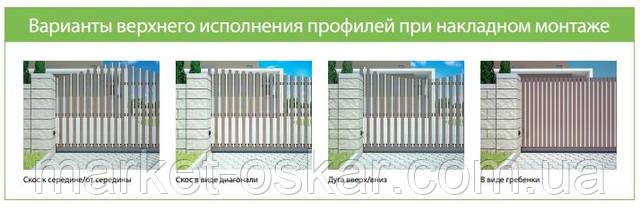 Верхнее исполнение распашных ворот и калиток Алютех