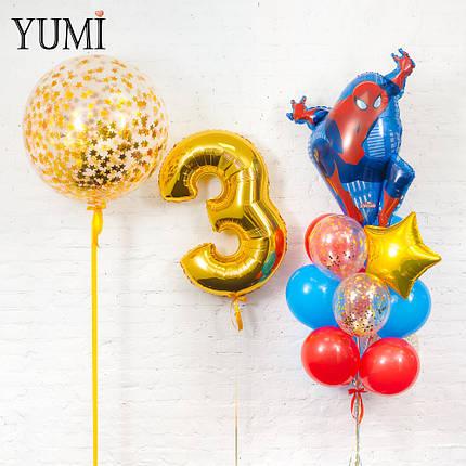 Оформление из гелиевых шариков в стиле Спайдермен для мальчика, фото 2