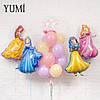 """Праздник с принцессами: фольгированные фигуры принцесс и Bubble """"Happy Birthday, Princess""""  в фонтане из шаров"""
