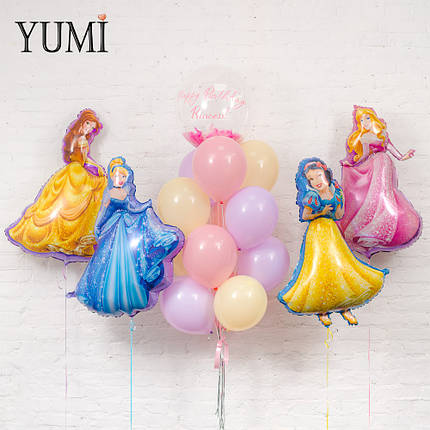 """Праздник с принцессами: фольгированные фигуры принцесс и Bubble """"Happy Birthday, Princess""""  в фонтане из шаров, фото 2"""