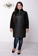 Женское пальто из стёганной искусственной кожи Лусия (ромб)