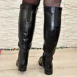 Ботфорты женские зимние кожаные, декорированы молнией, фото 2
