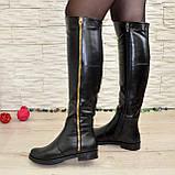 Ботфорты женские зимние кожаные, декорированы молнией, фото 3