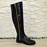 Ботфорты женские зимние кожаные, декорированы молнией, фото 5