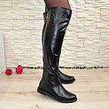 Женские кожаные зимние ботфорты на низком ходу, фото 3