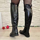 Женские кожаные зимние ботфорты на низком ходу, фото 4