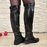 Женские кожаные зимние ботфорты на низком ходу, фото 5