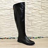 Женские кожаные зимние ботфорты на низком ходу, фото 6