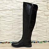 Женские кожаные зимние ботфорты на низком ходу, фото 7