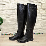 Женские кожаные зимние ботфорты на низком ходу, фото 8