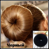Профессиональная заколка для волос-Валик Бублик черный, диаметр 10 см., фото 1