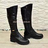 Сапоги женские зимние кожаные на низком ходу, фото 2