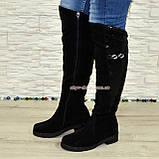 """Ботфорты женские зимние из натуральной замши черного цвета, со вставкой кожи """"питон"""", фото 2"""