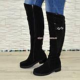 """Ботфорты женские зимние из натуральной замши черного цвета, со вставкой кожи """"питон"""", фото 3"""