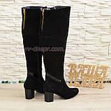 Ботфорты замшевые зимние на устойчивом каблуке, декорированы лаковой вставкой., фото 5