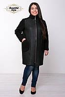 Женское пальто из стёганной искусственной кожи Лусия (квадрат)