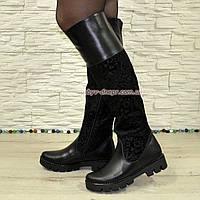 Ботфорты черные женские зимние на тракторной подошве, натуральная кожа и замша., фото 1