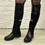 Ботфорты черные женские зимние на тракторной подошве, натуральная кожа и замша., фото 2