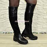 Ботфорты черные женские зимние на тракторной подошве, натуральная кожа и замша., фото 4