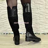Ботфорты черные женские зимние на тракторной подошве, натуральная кожа и замша., фото 5