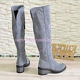 Ботфорты зимние замшевые женские на невысоком каблуке, цвет серый., фото 3