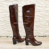 Ботфорты зимние кожаные на устойчивом каблуке, цвет коричневый., фото 3