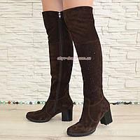 Ботфорты зимние замшевые на устойчивом каблуке, цвет коричневый., фото 1