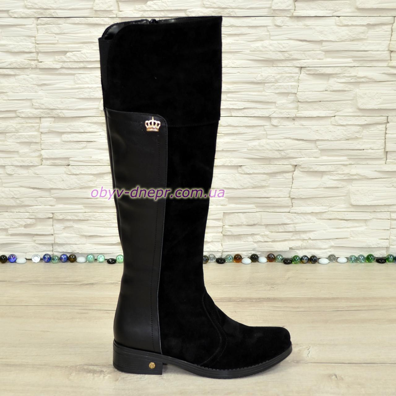 Ботфорты черные женские зимние на невысоком каблуке, натуральная замша и кожа.