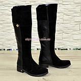 Ботфорты черные женские зимние на невысоком каблуке, натуральная замша и кожа., фото 2