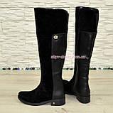 Ботфорты черные женские зимние на невысоком каблуке, натуральная замша и кожа., фото 3