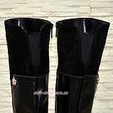 Ботфорты черные женские зимние на невысоком каблуке, натуральная замша и кожа., фото 4