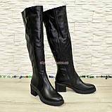 Ботфорты зимние кожаные женские на невысоком каблуке, цвет черный., фото 2