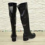 Ботфорты зимние кожаные женские на невысоком каблуке, цвет черный., фото 3