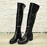 Ботфорты зимние кожаные женские на невысоком каблуке, цвет черный., фото 4