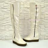 Ботфорты зимние женские кожаные на скрытой танкетке, бежевый цвет., фото 2