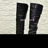 Ботфорты женские кожаные зимние на тракторной подошве, фото 2