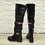 Ботфорты женские кожаные зимние на тракторной подошве, фото 3